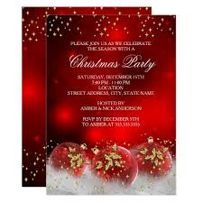 Christmas Invitation Card Red Gold Holly Baubles Christmas Holiday Party Invitation