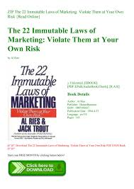 22 Immutable Laws Of Marketing Zip The 22 Immutable Laws Of Marketing Violate Them At Your