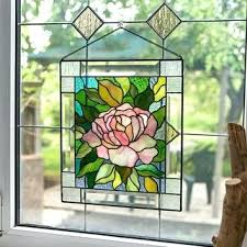 stain glass window hanging panel flower wind stained hangings stain glass window hanging