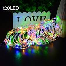 christmas rope lighting. Lalapao Rope Lights 120 LED Battery Operated Xmas Fairy String Waterproof Outdoor Decorations Timer Christmas Lighting