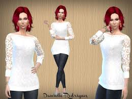 Blusa Renda Blanca - The Sims 4 Download - SimsDomination