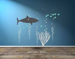 beach themed wall decals shark decal great white decal ocean scene wall art underwater bubble wall