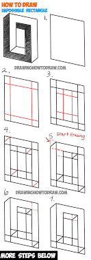 learn ow to draw an impossible square or rectangle easy step by step drawing tutorial