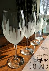 diy etched skyline wine glasses stemware reality daydream