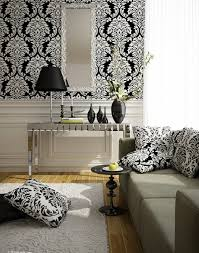 Black And White Paris Street Baroque Black And White Theme Living Room