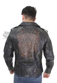 harley davidson mens master distressed patch slim fit black leather jacket