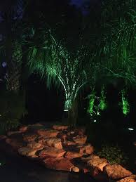 landscape lighting around this residential swimming pool creates a wonderful nighttime contrast between the palm trees