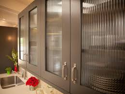 Stripes Tempered Glass Cabinet Doors With Brown Lines In The Kitchen