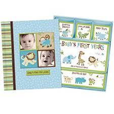Baby Photo Album Book Baby Boy Memory Book Hardcover Record Babys First Five Years Diary Precious Moments Milestone Storage Box Keepsake Scrapbook Journal Photo Album Blue