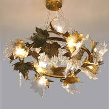 contemporary copper glass maple leaf chandelier with g9 led bulb