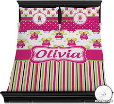 pink monsters stripes duvet cover set personalized