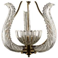 vintage murano glass and brass chandelier attributed to barovier and toso for