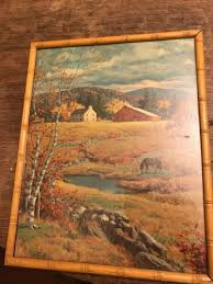 bamboo frame vintage lithograph autumn pasture by westal 11x14 wind fine print