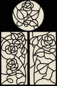 stained glass one color applique rose panels