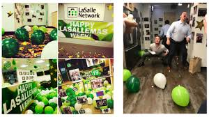 Entire office decked Decoration Day 1 Monday Morning Each Office Was Decked Out To The Nines When Lasallians Arrived With Green Decorations From Ceiling To Floor Lasalle Network The Greatest Time Of The Year Lasalle Network