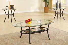 Picture Of 3 Piece Coffee Table Set, Elliptical Glass Top With Stone Mosaic  Shelf Nice Look