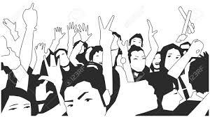 コンサートで応援パーティー群衆の黒と白のイラスト