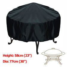 30 inch patio round fire pit cover waterproof uv protector grill bbq cover black