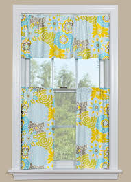 window curtain with fl design in blue yellow and grey gray curtains target kitchen full size