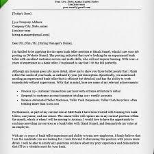 Teller Cover Letter Sample Bank Teller Cover Letter Sample Resume Genius With Regard To Bank