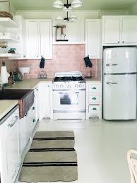 Retro Kitchen Pink Tile Backsplash Big Chill Liances Stove Luxury Style  Small Appliances Range Refrigerator Cococozy