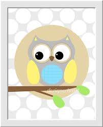 Baby Monogram Wall Decor Owls Baby Boy Nursery Wall Art Yellow Gray Aqua Grey Monogram