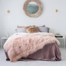 genuine mongolian sheepskin blanket pink blush 180cm x 120cm