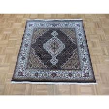4 x 4 square hand knotted black persian mahi tabriz rug wool silk g3820