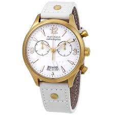 movado 3650026 women s heritage chronograph leather white dial