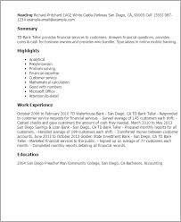 Resume Templates: Td Bank Teller