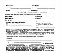 Sample Of Medical Records Generic Medical Record Release Form 10 Free Samples