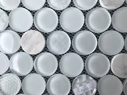 33 stylist design circular glass tile snow white circles stone blend mesh mounted mosaic and backsplash