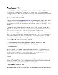 Benefits Clerk Sample Resume Bunch Ideas Of Warehousing Job Resume Warehouse Resume Supervisor On 1