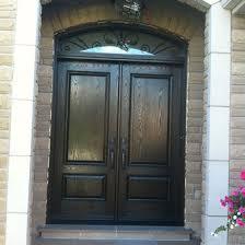 8 foot fiberglass doors woodgrain fiberglass solid double doors with arch iron art transom installed