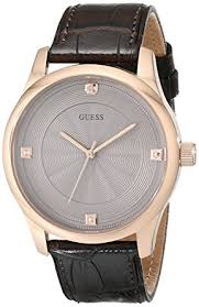 cheap guess watch guess watch deals on line at guess men s u0539g2 dressy brown watch rose gold tone case khaki dial