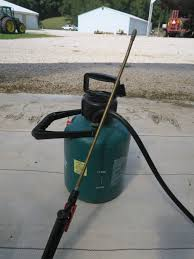 a typical garden sprayer with an adjustable nozzle and hand pump is not suitable for applying