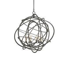 currey company genesis black iron six light chandelier