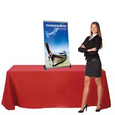 table display stands. retractable table top banner stand phoenix mini promotional display stands