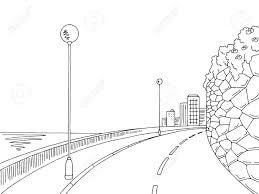 Street Road Graphic Black White Landscape Sketch Illustration