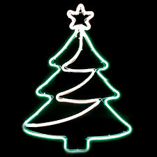 Neon Christmas Tree Light, White/Gold