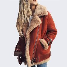 lambswool faux leather jacket plus size female warm lapel coat winter women zipper fur suede leather