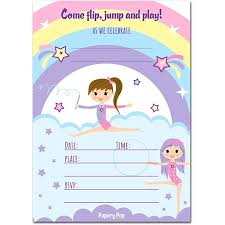 kids birthday party invitations gymnastics birthday invitations with envelopes 15 count kids birthday party invitations for girls