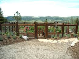 image by steamboats builder cedar garden gates red fences and landscape traditional with bark mulch elk cedar garden gate