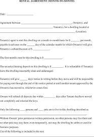Month To Month Rental Agreement Template 5 Sample Month To Month Lease Templates Free Download
