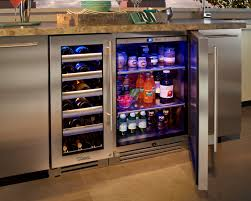 Kitchen Appliances Built In Built In Wine Cooler Cabinet Mahogany Wood Stainless Steel Wine