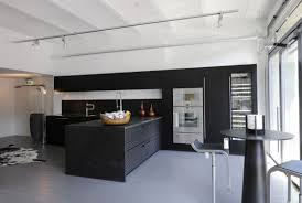 black track lighting. Classic Black Kitchen Design Ideas With Track Lighting And Island Also Solid Wood Dining Table