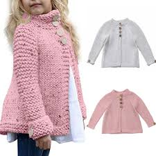 Details About Us Kids Toddler Baby Girls Long Sleeve Warm Sweaters Knitted Cardigan Outerwear