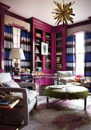 Interior Design: Eileen Kathryn Bond Living Room Purple Green Ottomans  Regency Pastel - Radiant Orchid
