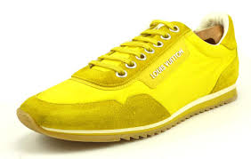Louis Vuitton Mens Shoes Size 9 5 10 5 Us Nylon Suede Leather Sneakers Yellow
