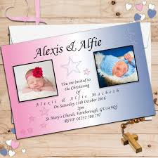 Twin Baptism Invitations 10 Personalised Twins Joint Baptism Christening Photo Invitations N11